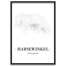 JUNIWORDS Stadtposter, Harsewinkel, Weiß, Kunstdruck Plan Map