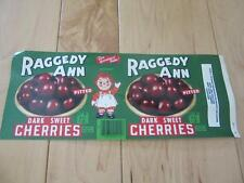VINTAGE RAGGEDY ANN PITTED DARK SWEET CHERRIES PAPER LABEL FOR CAN