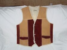 Mens Womens Leather Suede Western Vest Shearling Style Lining Snap Front