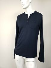 ABERCROMBIE & FITCH Muscle Moose Logo Pocket Cotton Henley Shirt Navy Blue L NWT