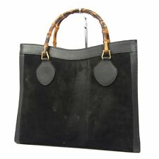 Auth GUCCI Vintage Bamboo Leather LARGE Hand Bag F/S 26718eSaM