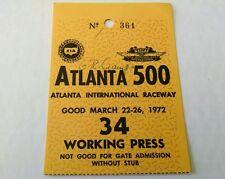 VINTAGE NASCAR 1972 ATLANTA INTERNATIONAL RACEWAY WORKING PASS TICKET ALLISON