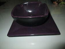 Bougeoir avec assiette carrée,bi-colore Violet et Noir,marque Party Lite,NEUFS!