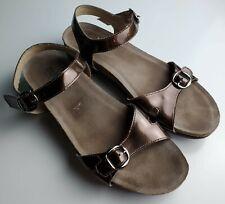 MUNRO American 9.5 Bronze Metallic Slip On Slides Women's  Low Wedge Sandals