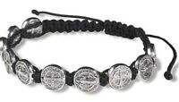 Saint Benedict Corded Adjustable Bracelet Silver Tone 10 Medal Bead Inserts