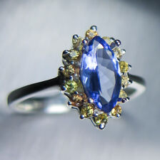 1.15cts Natural Tanzanite & yellow sapphires ring Sterling silver