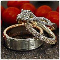 14K White Gold Over Trio Set His Her Bridal Engagement Ring Wedding Diamond Band
