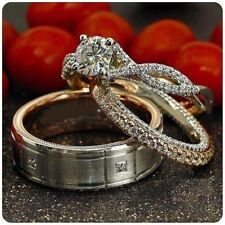 14K White Gold Over Trio Set His Her Bridal Engagement Ring Wedding Diamond Band