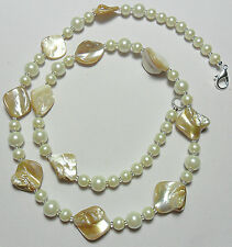 "23"" necklace, light cream glass pearls + shell pieces"