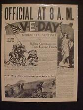 VINTAGE NEWSPAPER HEADLINE~WORLD WAR 2 ENDS NAZIS ARMY OVER VICTORY V-E DAY WWII