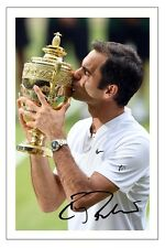 ROGER FEDERER 8 X WIMBLEDON CHAMPION 2017 AUTOGRAPH TENNIS SIGNED PHOTO PRINT