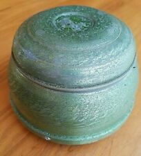 """Vtg Metal Green Powder Box Wind-Up Musical Plays """"Let Me Call You Sweetheart"""""""