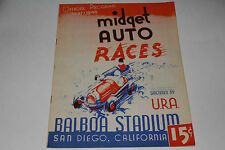 Midget Auto Races Program, San Diego Balboa Stadium, October 15 1947 Original #1