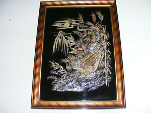 Vintage Mother Of Pearl  Iridescent Oriental Style Tiger Picture Framed & Glazed