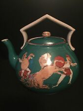 Green~Antique Tea / Coffee Pot~Hand painted~Romans soldiers ~rare