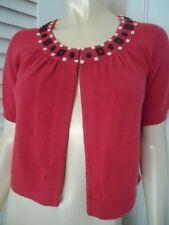 Ann Taylor Loft Sweater XS Retro Bejeweled Bolero Swing Crop Neck Hook