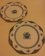 2 x octagonanal Woods ware bombay blue floral dinner plates art deco
