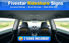 UBERs/LYFTs CUSTOM Signs Headrest Boost Ratings Increase Tips - Black