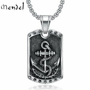 MENDEL Dog Tag Nautical Mens Stainless Steel Marine Navy Anchor Pendant Necklace