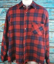 Vintage Open Tails Blue/Red Flannel Shirt Long Sleeve Xl