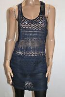 ROXY Brand Navy Lace Cross Back Beach Cover Up Dress Size M  #AN02