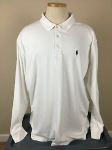 Ralph Lauren Lake Nona Country Club White Long Sleeve Golf Polo Shirt Men's XXL
