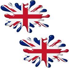 Small pair 3D Effect SPLAT Union Jack British Flag car sticker 80x52mm Each