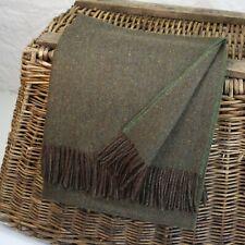 Green Donegal Fleck 100% Wool British Made Tweed Fabric Blanket Throw