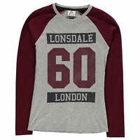 Lonsdale Womens Raglan Long Sleeve T Shirt Top Crew Neck Lightweight Print