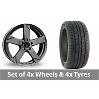 "4 x 15"" Wolfrace Kodiak Graphite Alloy Wheel Rims and Tyres -  175/65/15"