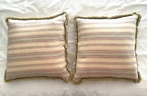 """RALPH LAUREN 2 Pillows Vintage Fringed Striped Covers 22"""" Down Inserts"""