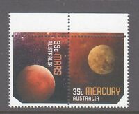 Australia 2015 Our Solar System  Mars,Mercury  MUH pair sheet stamps, selvedge.