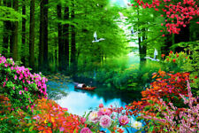 Wall Art Picture Green Forest Landscape Print Painting Canvas Living Room Decor