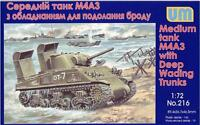 UniModels — Tank M4А3 with Deep Wading Trunks — Plastic model kit 1:72 Scale 216