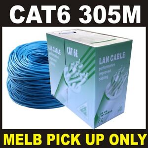 1 X Blue 305M CAT6 AWG23 Solid CCA Core Network Ethernet LAN Cable  *PICK UP *