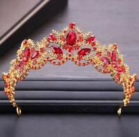 Rhinestones Baroque Bridal Crown Tiara Wedding Bride Hair Headdress FlowerKiJYT