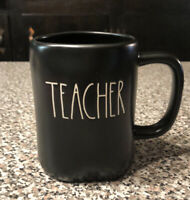 "RAE DUNN by Magenta Artisan Collection ""TEACHER"" Black Coffee Mug - NEW"