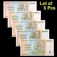 5x 20 BILLION ZIMBABWE DOLLAR 2008, XF CONDITION, FAST SHIP [TRILLION 20 50 100]