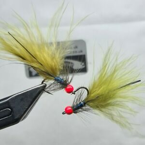 Olive Damsel, 3 Hot Head Blue Flash Barbless Damsels, Trout Lure. Fly Fishing.