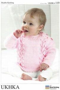 UKHKA 119 Double Knitting Pattern Kids Cardigan Sweater & Hat 31-51cm 12-20in