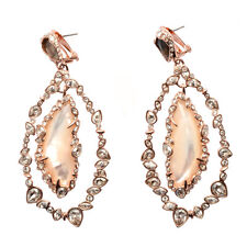 De Buman 18k Rose Gold Plated Mother-of-Pearl Exaggerated Dangle Ladies Earrings