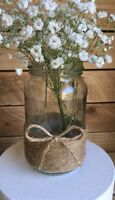 12 x Glass Jars Vintage Vases Wedding Country Table Centrepiece Hessian Twine