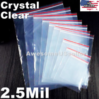 Clear Zip Lock Bags 2.5Mil Plastic Top Seal Reclosable Storage Large Poly Zipper