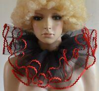 BLACK & RED 2-layered net BURLESQUE CLOWN COLLAR neck ruff/ruffle - dance/drama