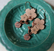 Boxed Hand Crafted Arch Laser Cut Wood & Swarovski Crystal Dangle Earrings