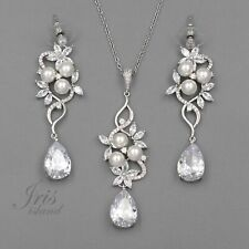 Bridal Wedding Jewelry Set White Pearl Cubic Zirconia CZ Necklace Earrings 09592