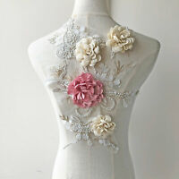 Beaded 3D Flower Lace Applique Patch Sewing for Bridal Ballgown Dance Dress