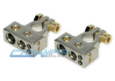 SET OF 2 NEW CAR TRUCK BOAT BATTERY TERMINAL SET PLATINUM NICKEL 0G STEREO WIRE