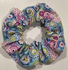Scrunchie - Pale Blue - Floral Pattern