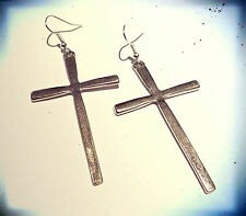 Large Antique Hanging Silver Cross Earrings -Vintage Jewellery- Gothic Jewelry